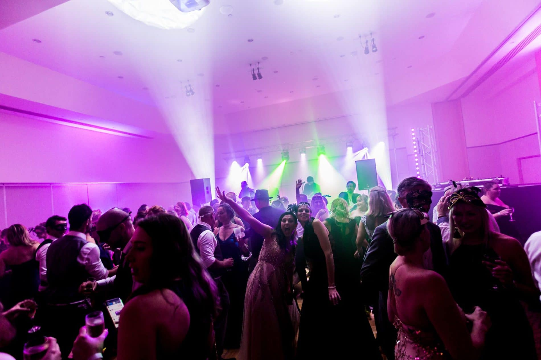 Masquerade ball entertanment - a packed dancefloor in Brisbane